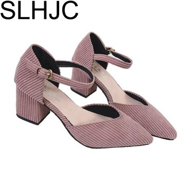 SLHJC 2017 Summer Pointed Toe High-Heeled shoes Button Sexy V Mouth Pumps Ankle Strap Sandals