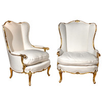 Pair of Italian Giltwood Chairs