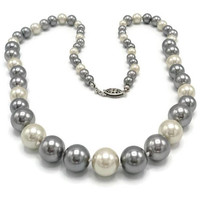 Art Deco Silver And White Glass Pearl Necklace Sterling Clasp