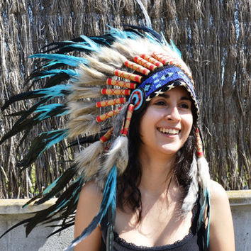 Light Blue / Dark Green Chief Indian Headdress Native American Costume Feather Warbonnet Hat Kids Carnival