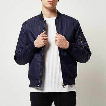 Navy blue zip sleeve bomber jacket - bomber jackets - coats / jackets - men
