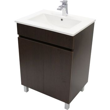 "Eco 24"" Standing Bathroom Vanity Cabinet Set Bath Furniture With Single Sink White/ Wenge"