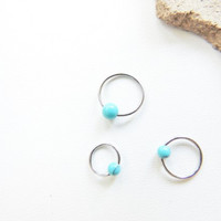 20 Gauge Turquoise Cartilage Earring, Cartilage Earrings, CBR Captive Bead Ring, Tragus Rook Conch, Cartilage Ring. 827