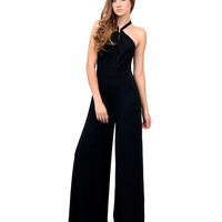 1970s Style Black Halter Neck Trim Long Jumpsuit