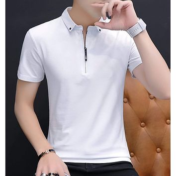 Mens Half Zip Polo Shirt with Collar Details