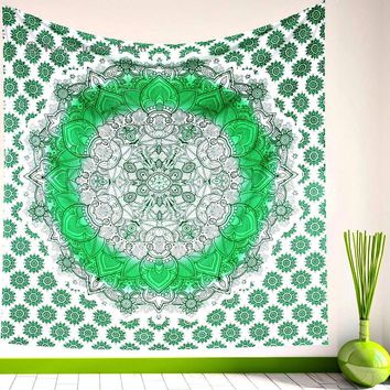 Miah Green Medallion Boho Pattern Fabric Tapestry