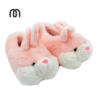 Millffy lovely pink rabbit silk art winter warm velvet slippers comfortable indoor shoes fur bunny slippers plush slippers
