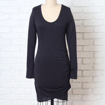 Charcoal Gray Long Sleeve Ruched Dress