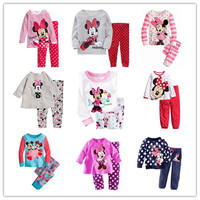 New Suits Children Clothes New Girls Mickey and Minnie Printing and Long Sleeve Suits Kids Polk Dots Trousers and Round Collar Suits