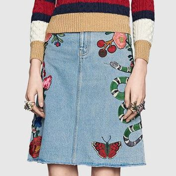 """Gucci"" Women Casual Fashion All-match Butterfly Flowers Snake Embroidery High Waist Show Thin A Word Denim Middle Skirt"