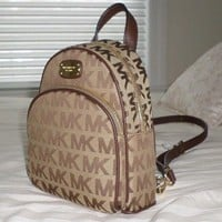 NWT Michael Kors ABBEY XS Backpack Crossbody Bag MK Sig Jacquard Bg/Eb/Mocha