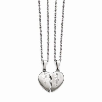 "Stainless Steel Brushed 1/2 Heart ""Mother""/""Daughter"" Necklace Set"