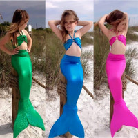 Children Kids Girls Gilding Mermaid Tail Swimwear Cute 3pcs New Arriving Costume Swimwear Bikini Swimsuit Outfit 3pcs Set