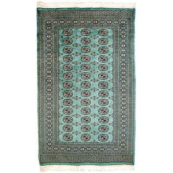 Oriental Pakistani Kashmir Wool Oriental Rug, Light Green/Black