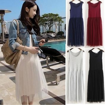 Vestidos New Arrival Party Vest Dresses vestido Tutu Tulle Summer Dress Women Tank Sleeveless Midi Dress Ukraine Robe Ete F943