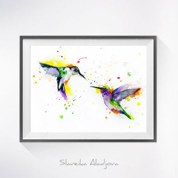 Hummingbirds Love watercolor painting print, Hummingbird art,bird watercolor, animal illustration,Hummingbird illustration, bird art,