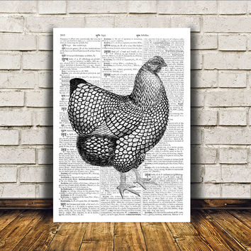 Chicken poster Dictionary print Modern decor Bird art RTA26