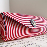 Nautical red white stripe clutch purse Spring fashion by toriska