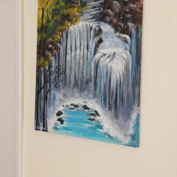 "Abstract painting Mountain Waterfall Art Acrylic on Canvas Wall Decor Original blue 20""X16"""