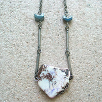 white magnesite steel bar hematite arrow necklace something wicked this way comes