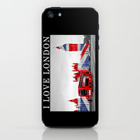 Red London Bus and Big Ben iPhone & iPod Skin by Alice Gosling