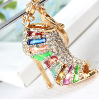 New Shoe High Heel Multicolour Charm Pendant Crystal Purse Bag Keyring Key Chain Women Jewelry Birthday Party Gift