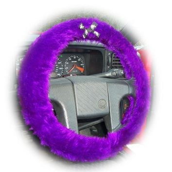 Purple fuzzy car steering wheel cover faux fur with skull and cross bones black white ribbon bow