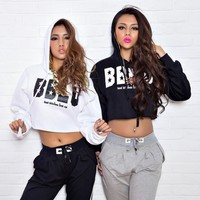 BBLU Bad Bitches Link Up Casual Best Friend Crop Sweatshirt Hoodie