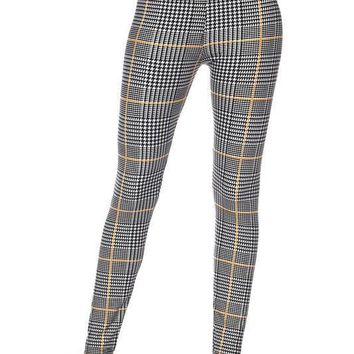 Glen Plaid with Mustard Stripe Print Leggings