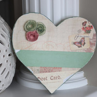 Vintage Wooden Heart, Rustic Decor, Farmhouse Accents, Vintage Wedding Decor, Valentine's Day Decorations, Vintage Decor, Shabby Chic decor
