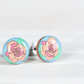Single Rose Post Earrings in Periwinkle Blue by aRainyAfternoon