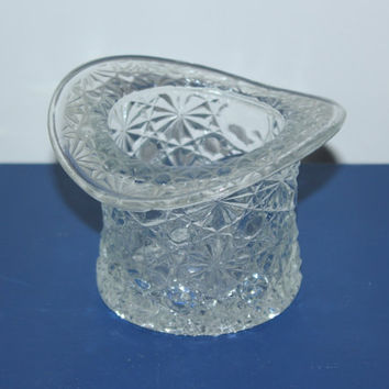 Glass hat figurine, toothpick holder, daisy and button, glass collectibles