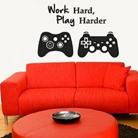 Wall Decal Vinyl Sticker Decals Art Decor Design Bedroom Nursery Kids Play room Work Hard Play Harder Gamer X box 360 Game contoller Quote Lettering Men Gift Guys Father day Kids Bedroom Dorm Home (r1427)