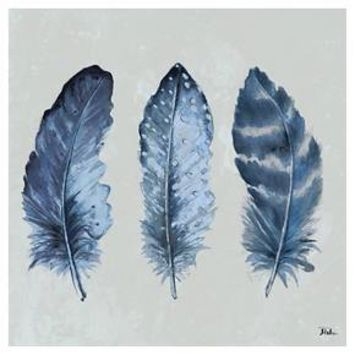 Indigo Feathers I by Patricia Pinto Unframed Wall Art Print