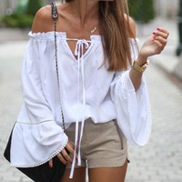 White Long Sleeve Style Off The Shoulder Blouses
