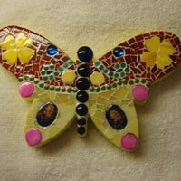 Mosaic Butterfly Red Yellow Pink and Blue