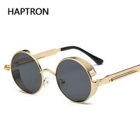 HAPTRON Fashion round Gothic Steampunk glasses Mens vintage Mirror Sunglasses alloy Circle Sun glasses rose gold frame