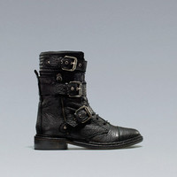 FLAT ANKLE BOOT WITH BIKER BUCKLES - Shoes - Woman - ZARA Germany