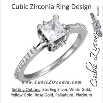 Cubic Zirconia Engagement Ring- The Pink (Princess Cut with Petite Pavé Band and Prong Accents)