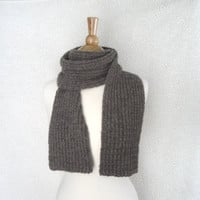 Pure Alpaca Scarf, Natural Brown, Soft Warm Fuzzy, Men and Women, Luxury Hand Knit, Extra Long