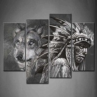 BANMU 4 Panel Wall Art Black And White Wolf And Indians Painting The Picture Print On Canvas Animal Pictures For Home Decor
