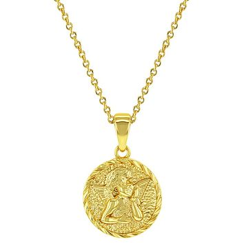 """18k Yellow Gold Plated Guardian Angel Medal Baptism Gift Pendant Necklace 18"""""""
