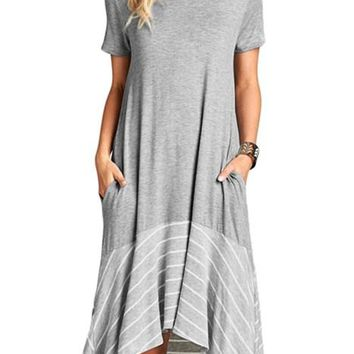 Gray Hi-low Striped Ruffle Hem Midi Dress