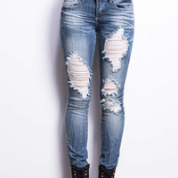 Frayed Low-Rise Straight Denim
