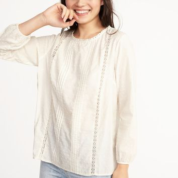 Relaxed Clip-Dot Lace-Trim Blouse for Women | Old Navy