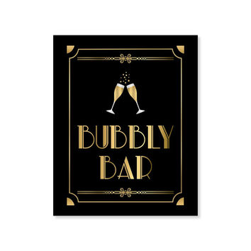 Bubbly Bar, PRINTABLE Sign, Bridal Shower Sign, Party Bar Sign, Art Deco, Roaring 20's, Digital Download, 1920's Party Decor, Bar Sign