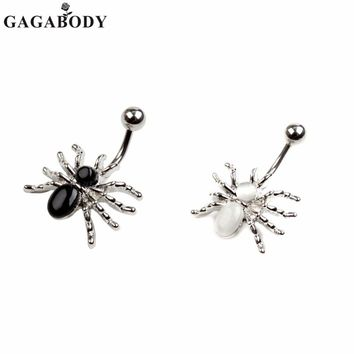 316L Surgical Steel Spider Rhinestone Navel Ring White/Black Dangle Body Piercing Belly Button Ring Belly Ring 1PC