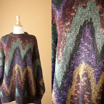 Vintage 80s Oversized Sweater | Preppy New Wave Avant Garde Abstract Chevron Slouchy Top Vintage Jumper Cosby Fall Fashion 80s Sweater Boho