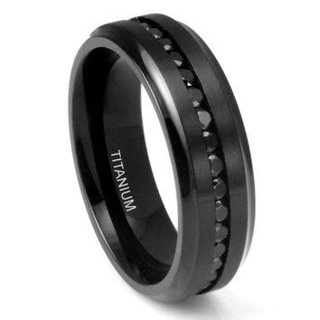 7MM Men's Eternity Black Titanium Ring Wedding Band with CZ | FREE ENGRAVING