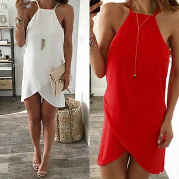 NCasual Sleeveless Party Evening Irregular Short  Mini Dress Red White